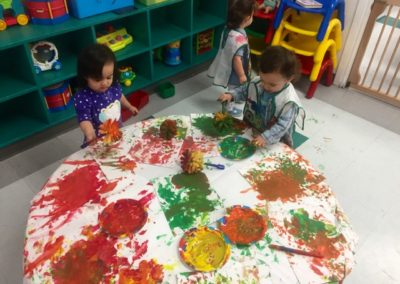 Finger painting at Caring Hearts Child Care in Sunnyvale
